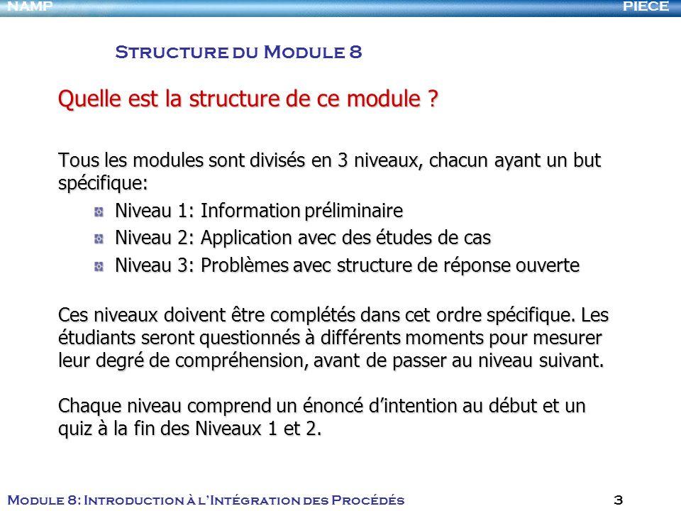 PIECENAMP Module 8: Introduction à lIntégration des Procédés 3 Quelle est la structure de ce module ? Tous les modules sont divisés en 3 niveaux, chac