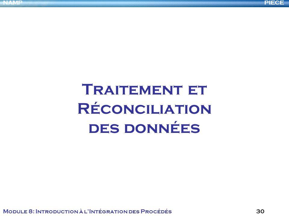 PIECENAMP Module 8: Introduction à lIntégration des Procédés 30 Traitement et Réconciliation des données
