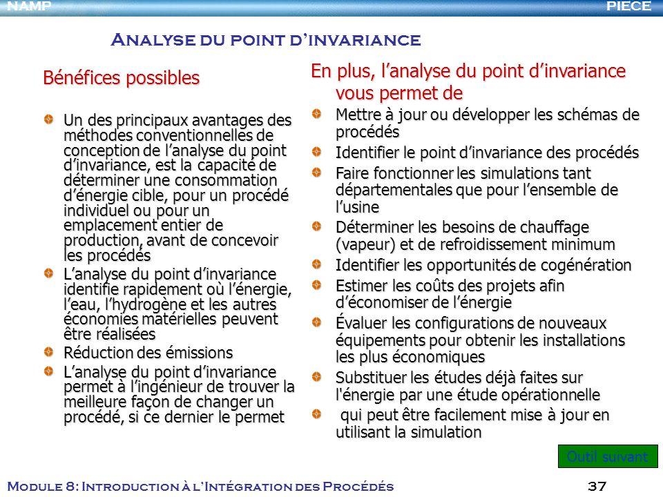 PIECENAMP Module 8: Introduction à lIntégration des Procédés 37 Bénéfices possibles Un des principaux avantages des méthodes conventionnelles de conce