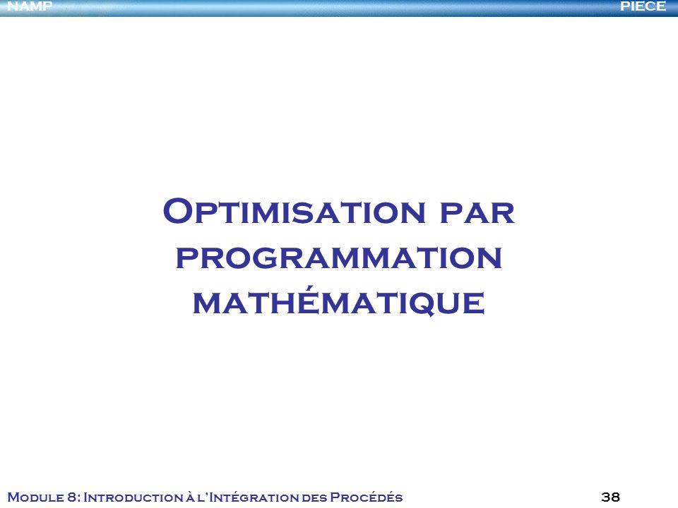 PIECENAMP Module 8: Introduction à lIntégration des Procédés 38 Optimisation par programmation mathématique