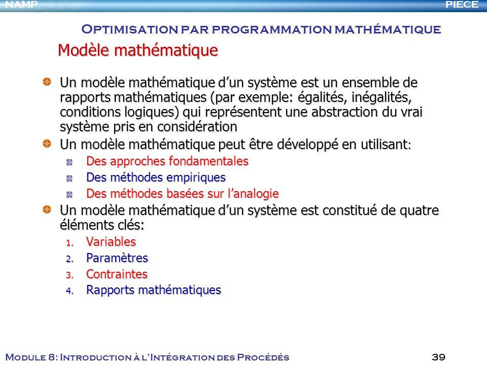PIECENAMP Module 8: Introduction à lIntégration des Procédés 39 Un modèle mathématique dun système est un ensemble de rapports mathématiques (par exem