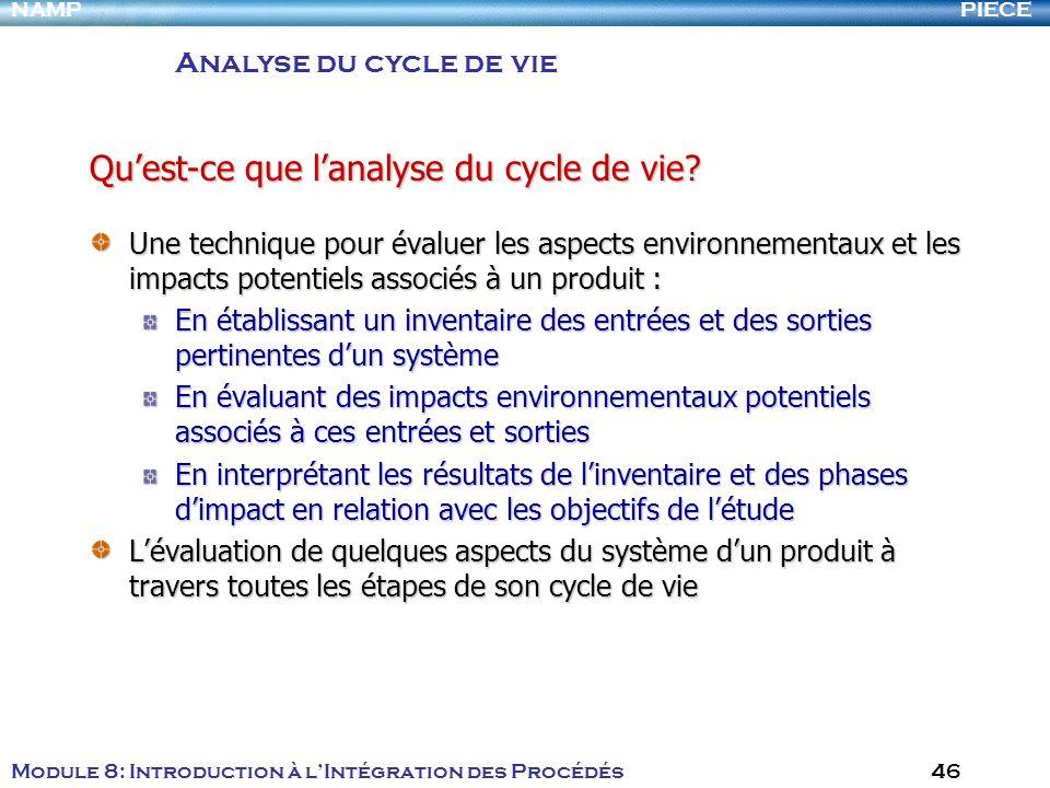 PIECENAMP Module 8: Introduction à lIntégration des Procédés 46 Une technique pour évaluer les aspects environnementaux et les impacts potentiels asso