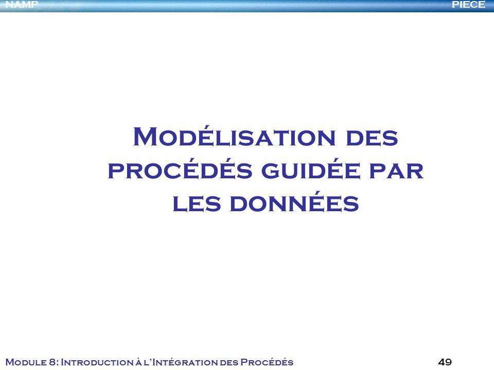 PIECENAMP Module 8: Introduction à lIntégration des Procédés 49 Modélisation des procédés guidée par les données