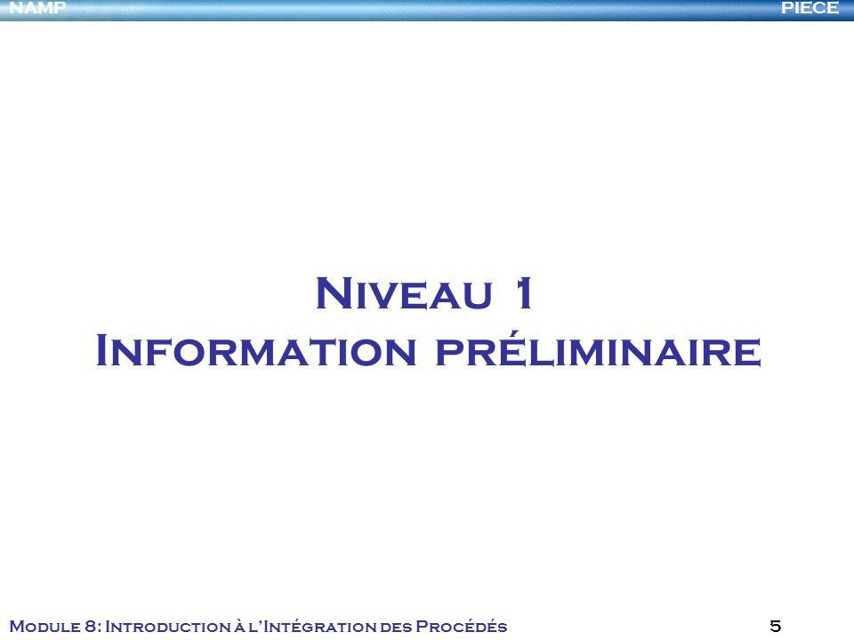 PIECENAMP Module 8: Introduction à lIntégration des Procédés 5 Niveau 1 Information préliminaire