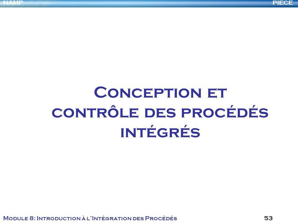PIECENAMP Module 8: Introduction à lIntégration des Procédés 53 Conception et contrôle des procédés intégrés
