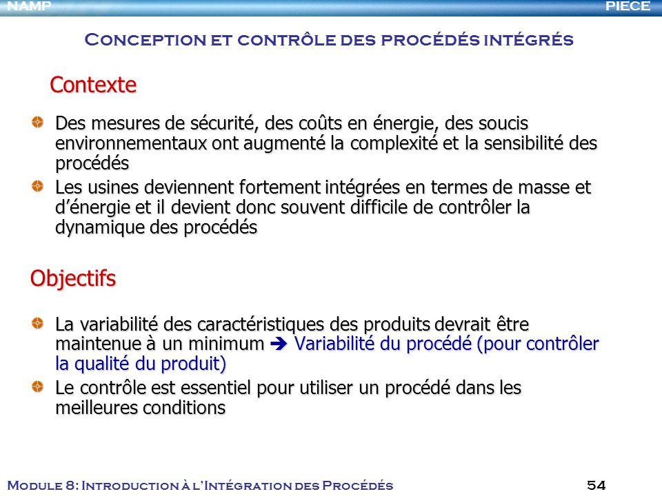 PIECENAMP Module 8: Introduction à lIntégration des Procédés 54 Des mesures de sécurité, des coûts en énergie, des soucis environnementaux ont augment