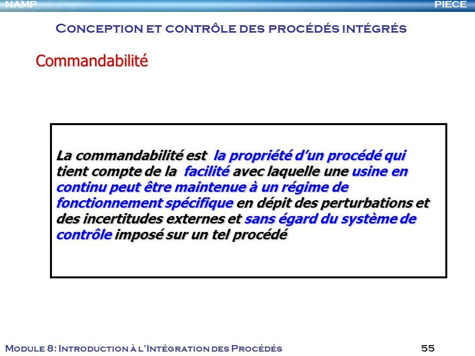 PIECENAMP Module 8: Introduction à lIntégration des Procédés 55 La commandabilité est la propriété dun procédé qui tient compte de la facilité avec la