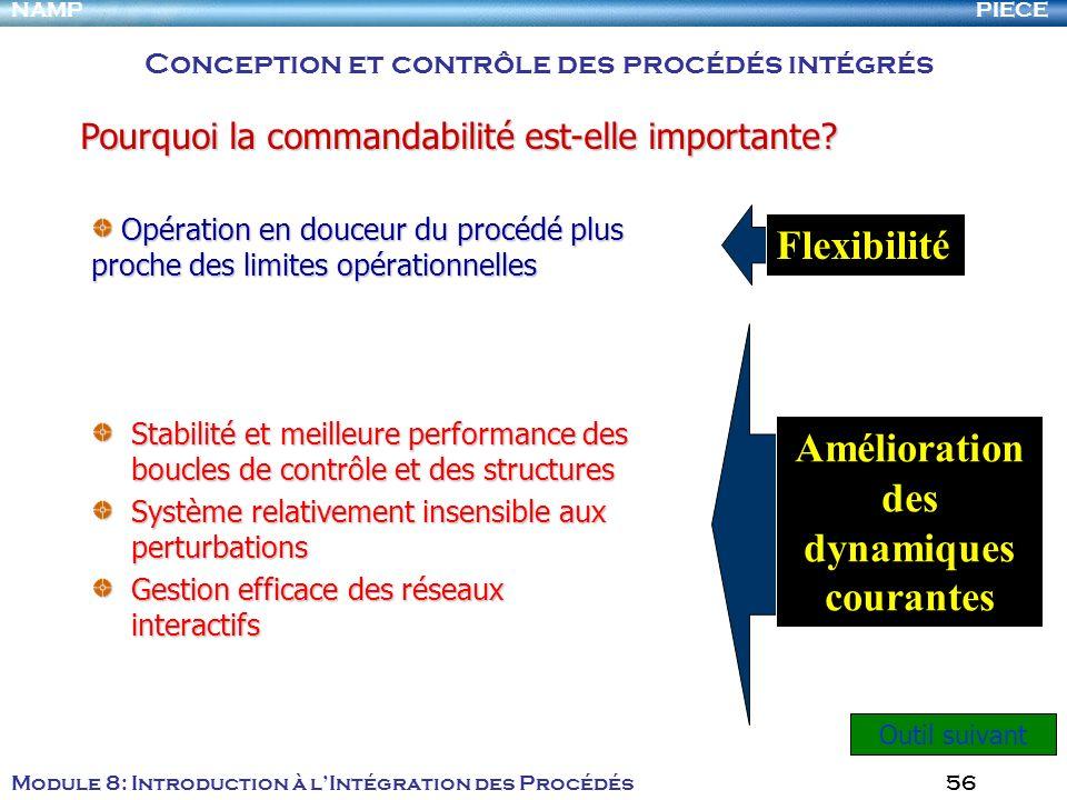 PIECENAMP Module 8: Introduction à lIntégration des Procédés 56 Stabilité et meilleure performance des boucles de contrôle et des structures Système r