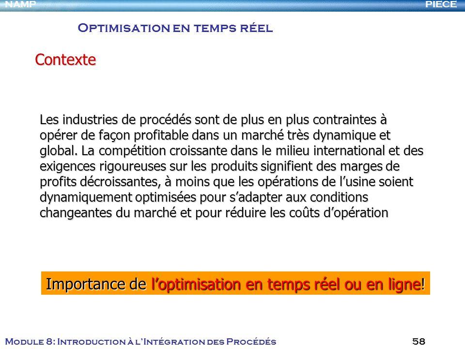PIECENAMP Module 8: Introduction à lIntégration des Procédés 58 Les industries de procédés sont de plus en plus contraintes à opérer de façon profitab