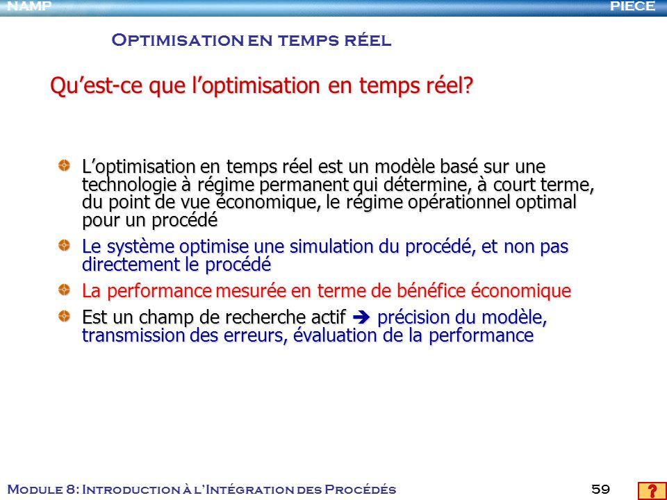 PIECENAMP Module 8: Introduction à lIntégration des Procédés 59 Loptimisation en temps réel est un modèle basé sur une technologie à régime permanent