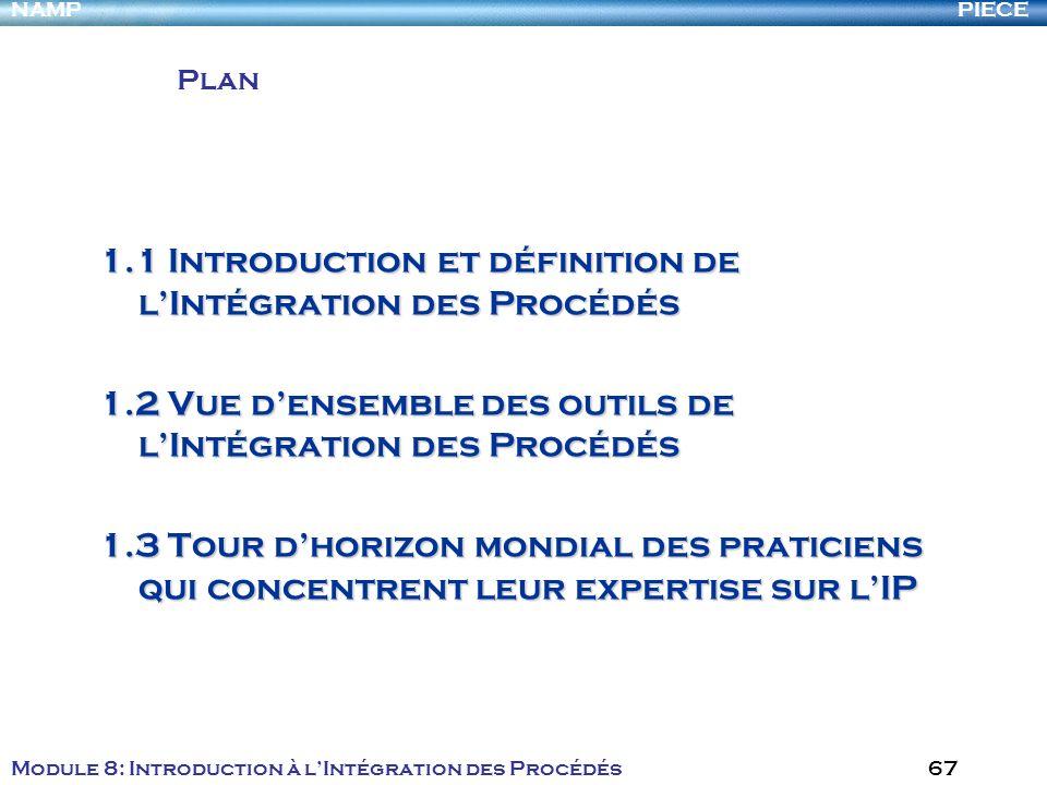 PIECENAMP Module 8: Introduction à lIntégration des Procédés 67 1.1 Introduction et définition de lIntégration des Procédés 1.2 Vue densemble des outi