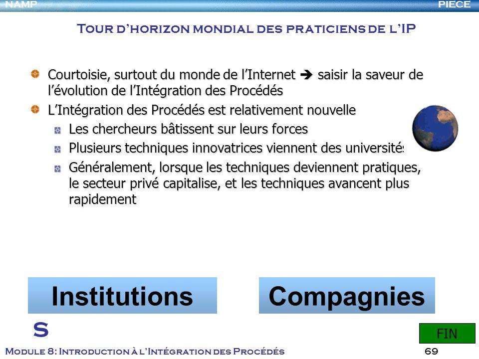 PIECENAMP Module 8: Introduction à lIntégration des Procédés 69 Courtoisie, surtout du monde de lInternet saisir la saveur de lévolution de lIntégrati