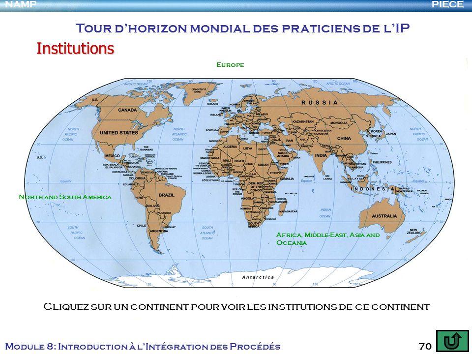 PIECENAMP Module 8: Introduction à lIntégration des Procédés 70 Tour dhorizon mondial des praticiens de lIP Institutions Cliquez sur un continent pour