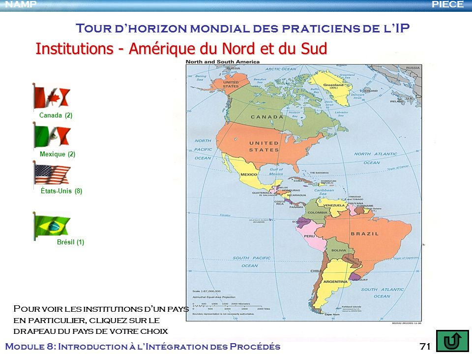PIECENAMP Module 8: Introduction à lIntégration des Procédés 71 Institutions - Amérique du Nord et du Sud Tour dhorizon mondial des praticiens de lIP