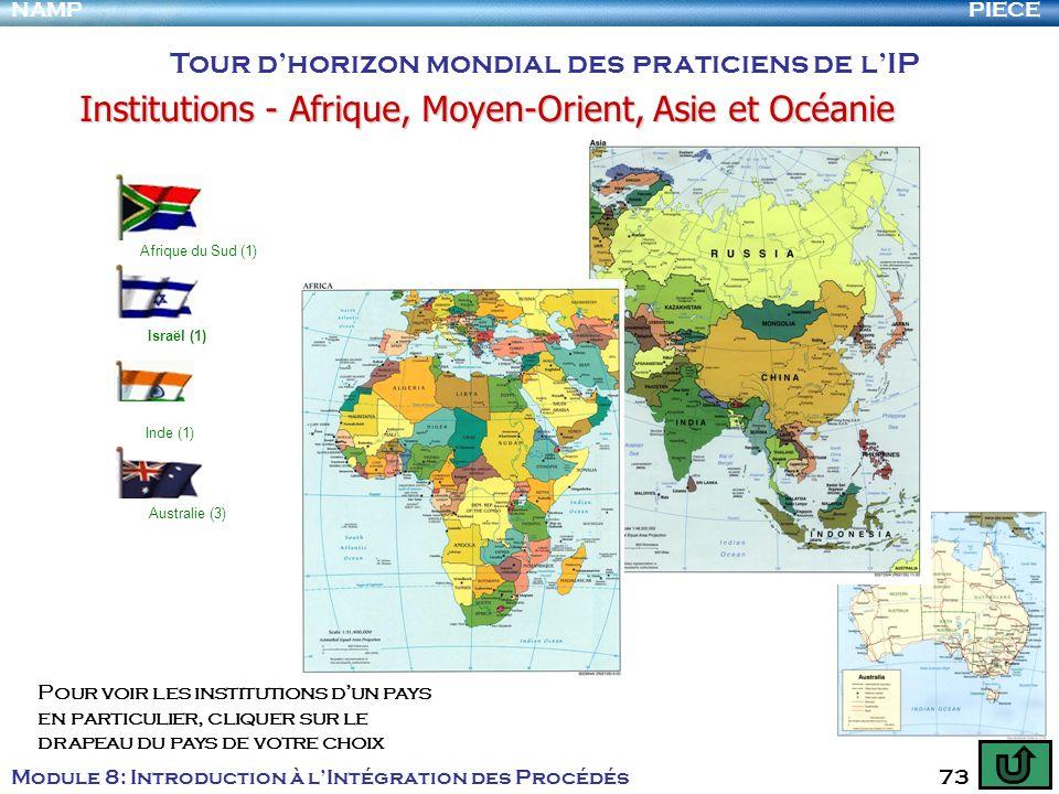 PIECENAMP Module 8: Introduction à lIntégration des Procédés 73 Tour dhorizon mondial des praticiens de lIP Institutions - Afrique, Moyen-Orient, Asie