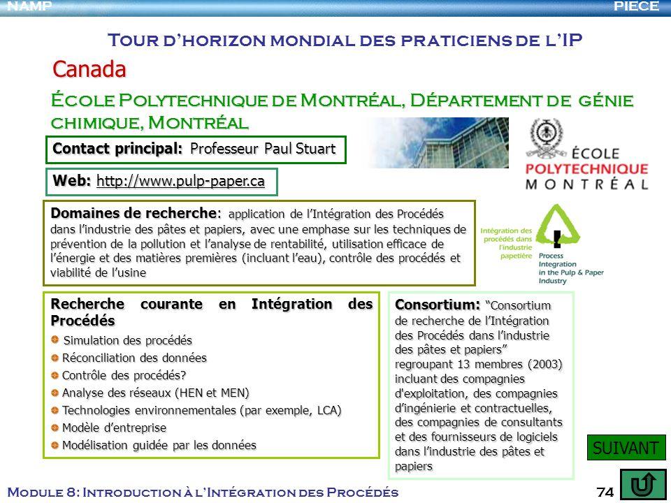 PIECENAMP Module 8: Introduction à lIntégration des Procédés 74 Tour dhorizon mondial des praticiens de lIP Canada École Polytechnique de Montréal, Dé