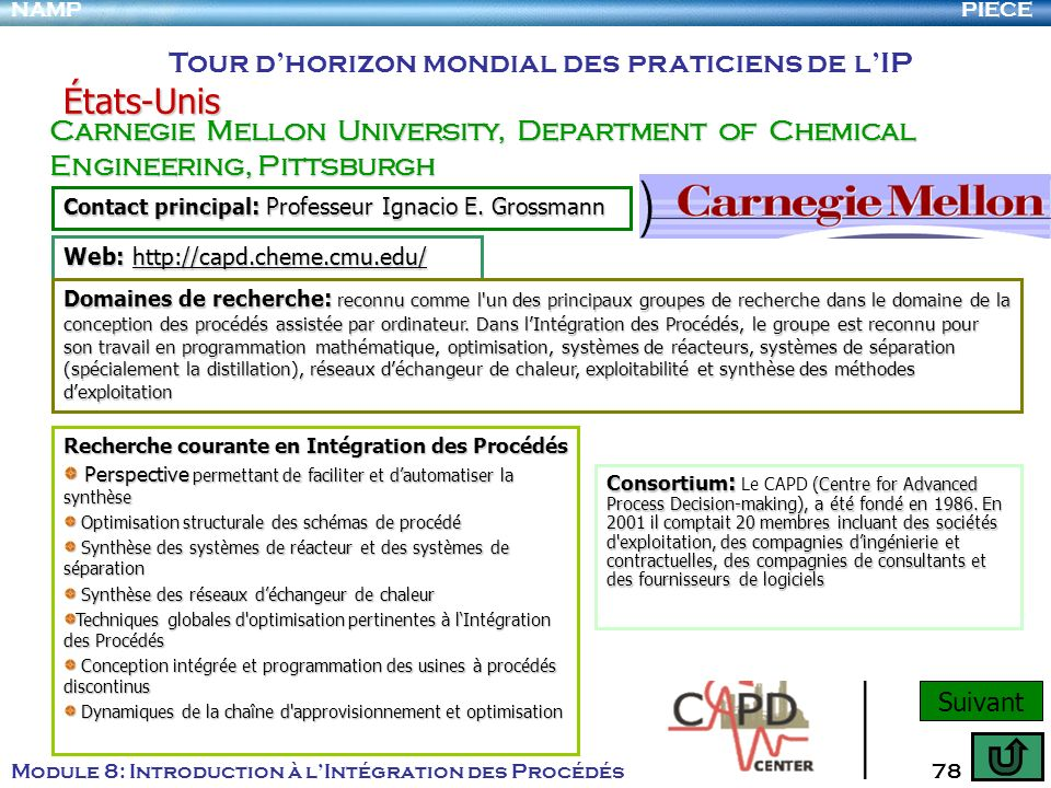 PIECENAMP Module 8: Introduction à lIntégration des Procédés 78 Tour dhorizon mondial des praticiens de lIP États-Unis Carnegie Mellon University, Dep