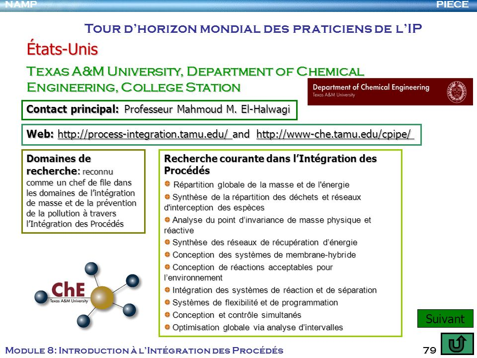 PIECENAMP Module 8: Introduction à lIntégration des Procédés 79 Tour dhorizon mondial des praticiens de lIP États-Unis Texas A&M University, Departmen