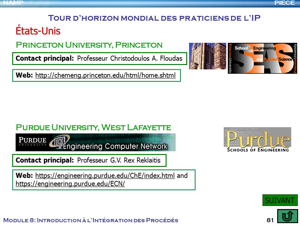 PIECENAMP Module 8: Introduction à lIntégration des Procédés 81 Tour dhorizon mondial des praticiens de lIP États-Unis Princeton University, Princeton