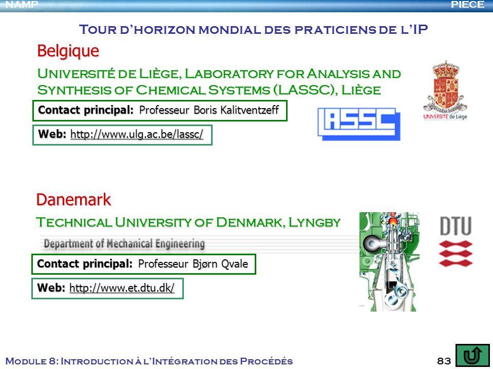 PIECENAMP Module 8: Introduction à lIntégration des Procédés 83 Tour dhorizon mondial des praticiens de lIP Belgique Université de Liège, Laboratory f