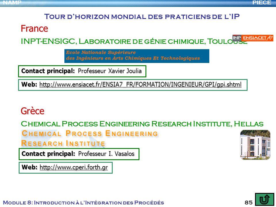 PIECENAMP Module 8: Introduction à lIntégration des Procédés 85 Tour dhorizon mondial des praticiens de lIP France INPT-ENSIGC, Laboratoire de génie c