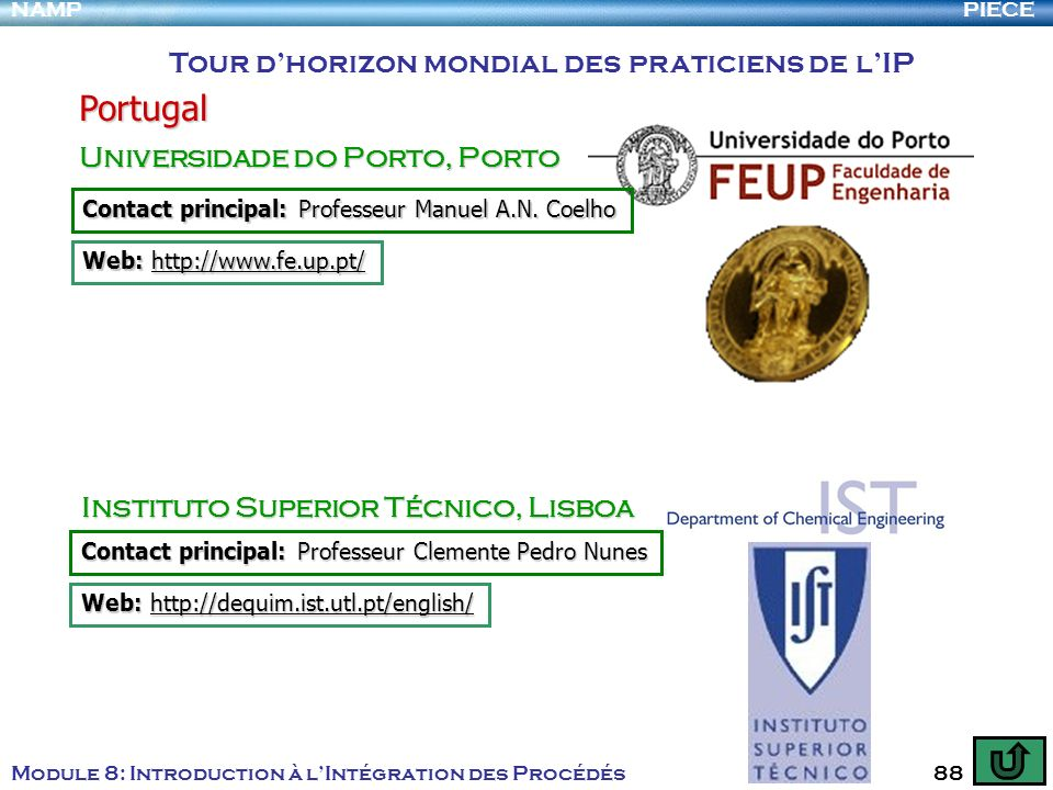 PIECENAMP Module 8: Introduction à lIntégration des Procédés 88 Tour dhorizon mondial des praticiens de lIP Portugal Universidade do Porto, Porto Inst