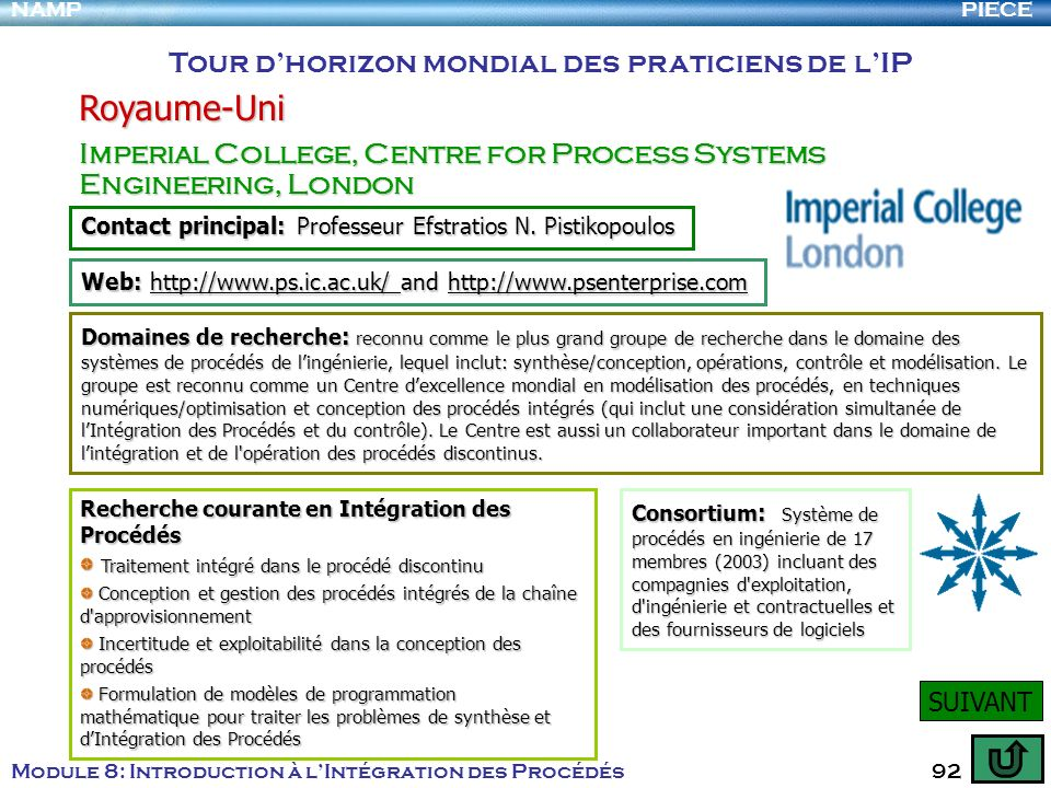 PIECENAMP Module 8: Introduction à lIntégration des Procédés 92 Tour dhorizon mondial des praticiens de lIP Royaume-Uni Imperial College, Centre for P