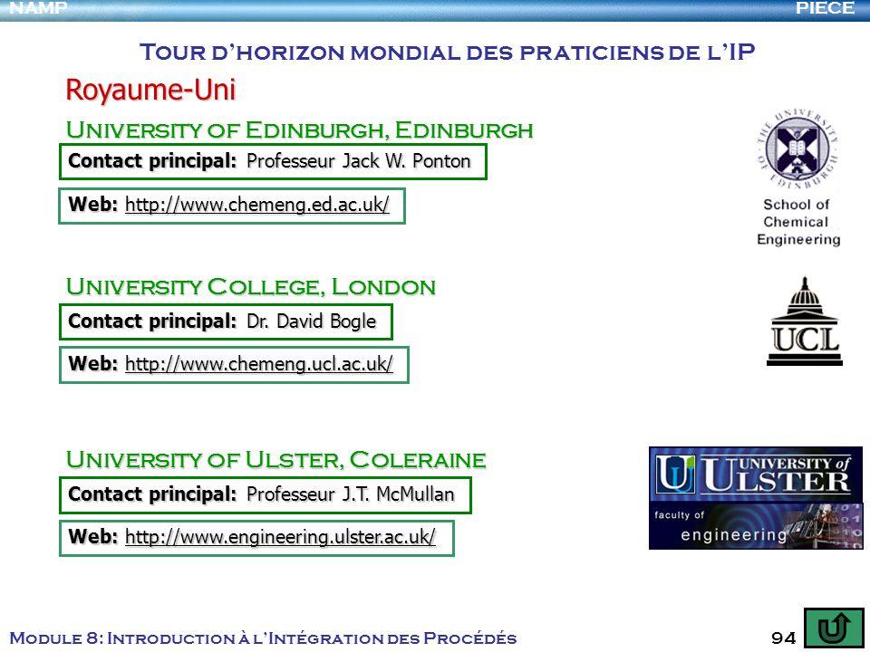 PIECENAMP Module 8: Introduction à lIntégration des Procédés 94 Tour dhorizon mondial des praticiens de lIP Royaume-Uni University of Edinburgh, Edinb