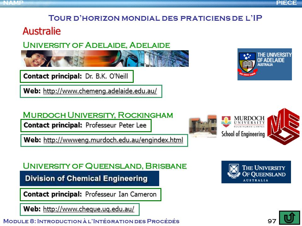 PIECENAMP Module 8: Introduction à lIntégration des Procédés 97 Tour dhorizon mondial des praticiens de lIP Australie University of Adelaide, Adelaide