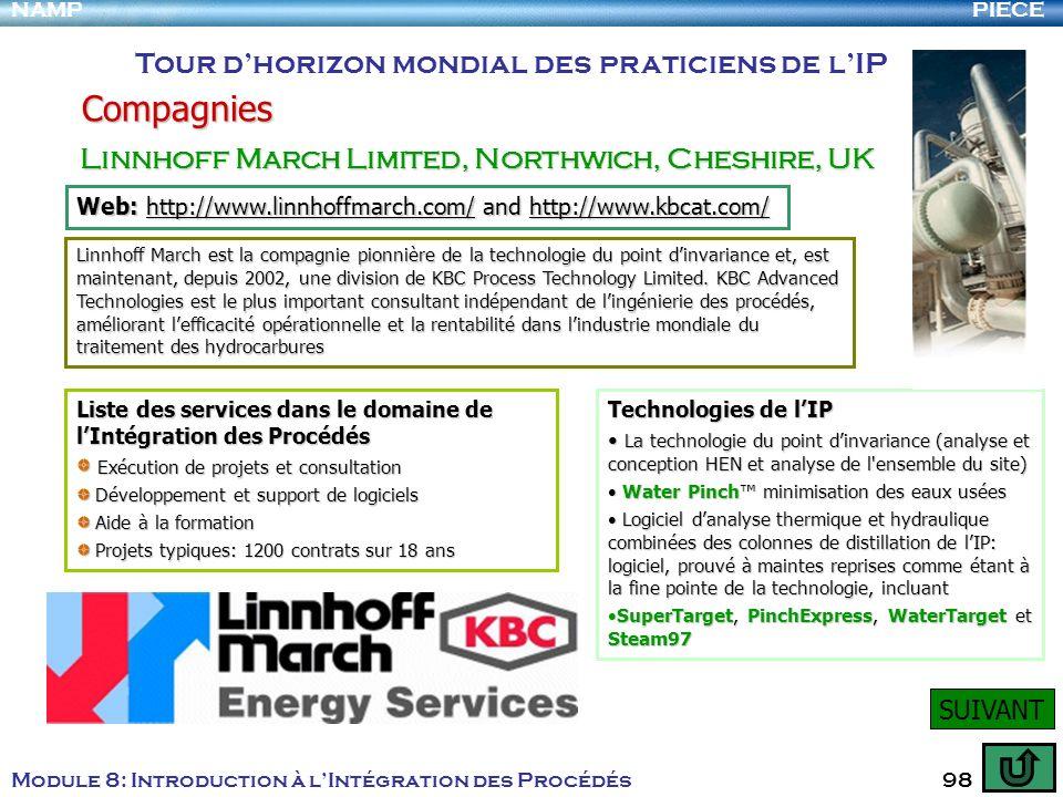 PIECENAMP Module 8: Introduction à lIntégration des Procédés 98 Compagnies Tour dhorizon mondial des praticiens de lIP Linnhoff March Limited, Northwi