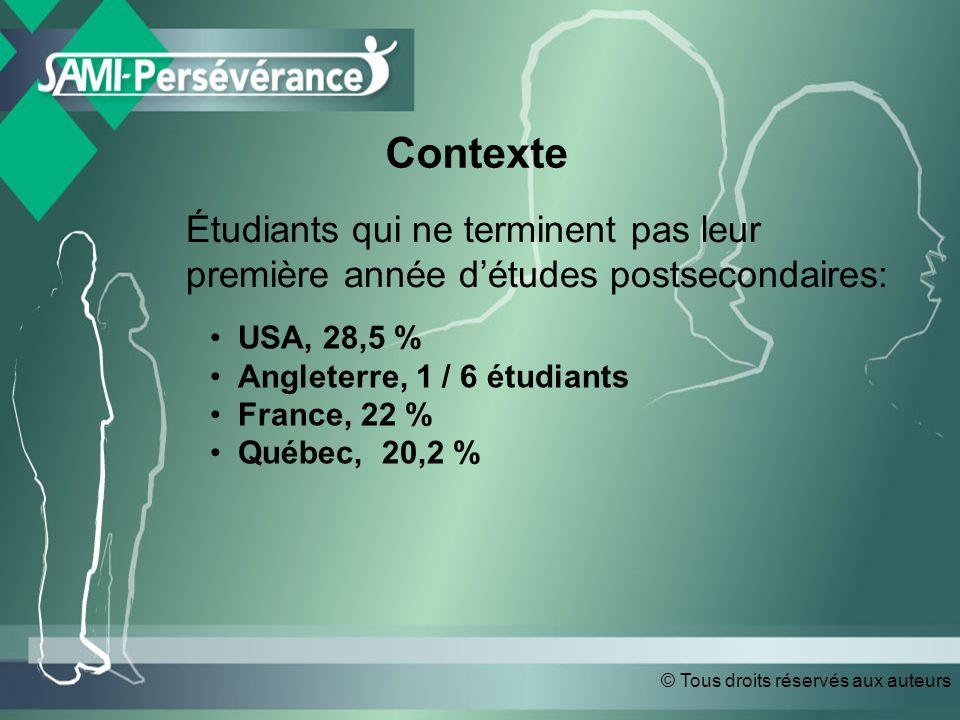 © Tous droits réservés aux auteurs Contexte Étudiants qui ne terminent pas leur première année détudes postsecondaires: USA, 28,5 % Angleterre, 1 / 6 étudiants France, 22 % Québec, 20,2 %