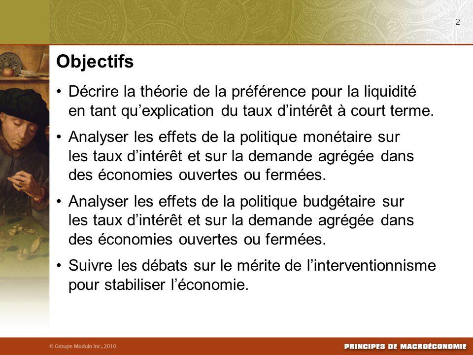 Décrire la théorie de la préférence pour la liquidité en tant quexplication du taux dintérêt à court terme. Analyser les effets de la politique monéta