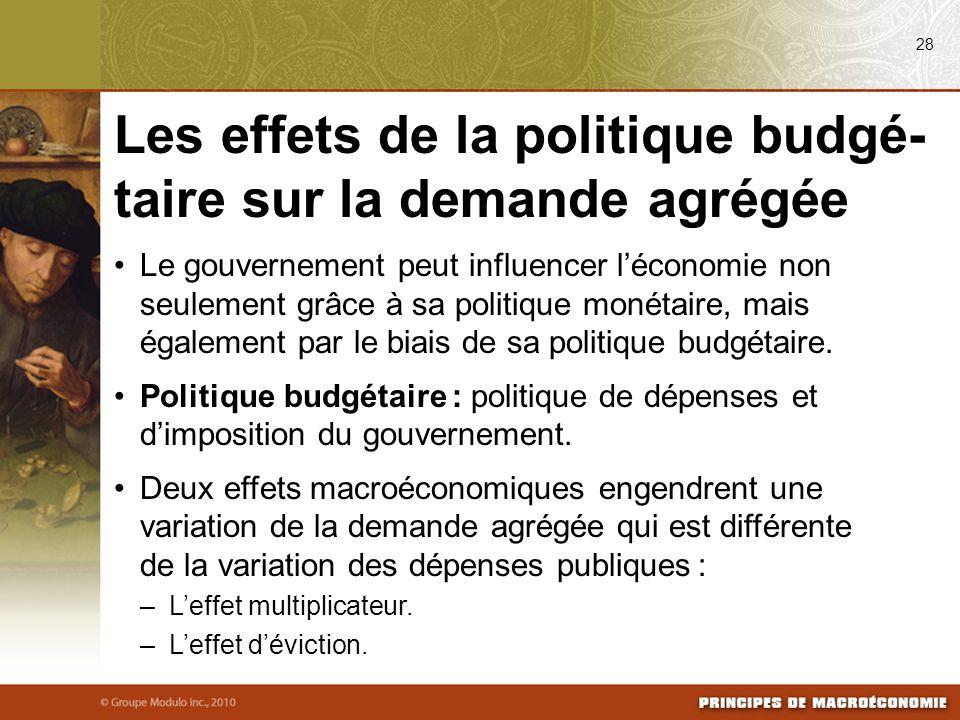 Le gouvernement peut influencer léconomie non seulement grâce à sa politique monétaire, mais également par le biais de sa politique budgétaire. Politi