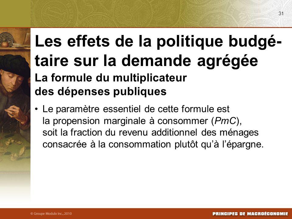 La formule du multiplicateur des dépenses publiques Le paramètre essentiel de cette formule est la propension marginale à consommer (PmC), soit la fra