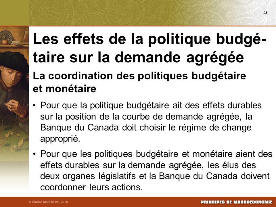 La coordination des politiques budgétaire et monétaire Pour que la politique budgétaire ait des effets durables sur la position de la courbe de demand