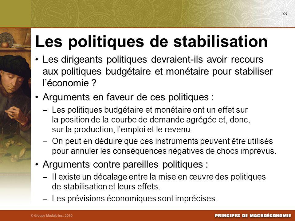 Les dirigeants politiques devraient-ils avoir recours aux politiques budgétaire et monétaire pour stabiliser léconomie ? Arguments en faveur de ces po