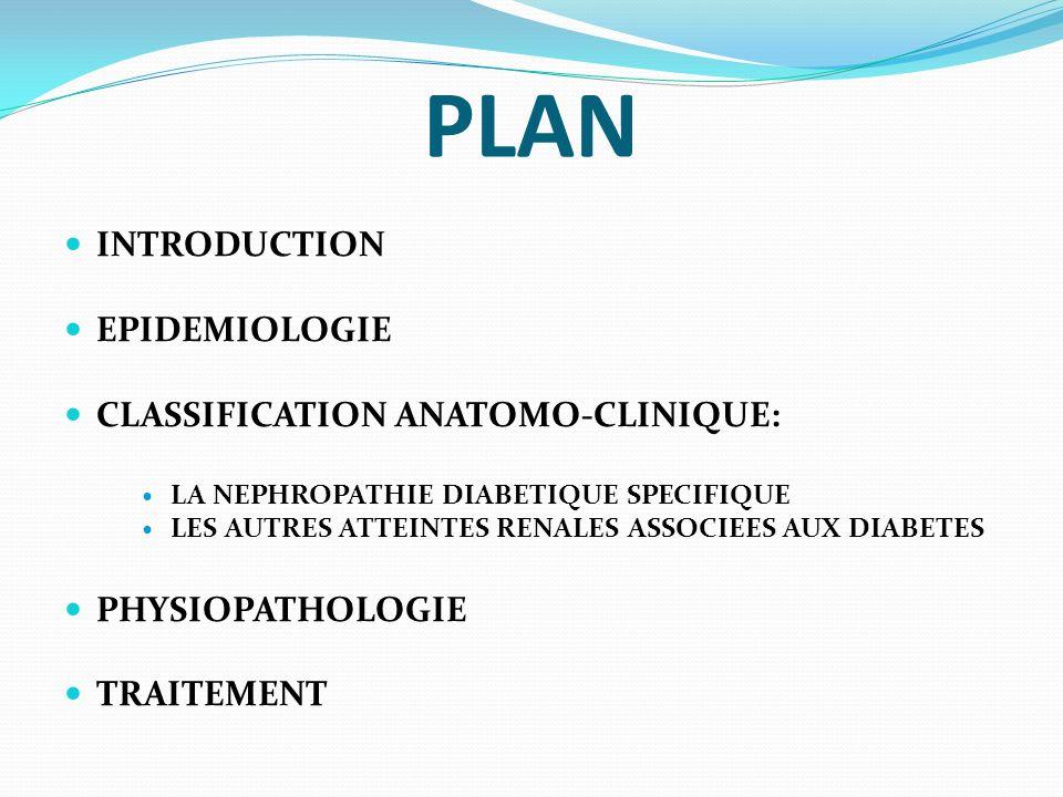 CLASSIFICATION ANATOMO-CLINIQUE: LES AUTRES ATTEINTES RENALES ASSOCIEES AUX DIABETES LA NECROSE PAPILLAIRE (RARE): SEQUESTRATION ISCHEMI- QUE OU DEGENERATIVE DE TOUTE OU PARTIE DUN OU PLUSIEURS SOMMETS DES PAPILLES RENALES; FAVORISEE PAR LES LESIONS DARTERIOLOSCLEROSE DIFFUSE ET PAR LES EPISODES INFECTIEUX URINAIRES; CLINIQUEMENT = COLIQUE NEPHRETIQUE FEBRILE HYPERALGIQUE AVEC HEMATURIE MACROSCOPIQUE; AMPUTE LE REIN TOUCHE DUN SIXIEME A UN QUART DE SON DEBIT DE FILTRATION GLOMERULAIRE, SELON LE NOMBRE DE PAPILLES PRESENTES DANS CE REIN.