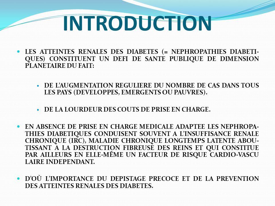 PHYSIOPATHOLOGIE LA CONNAISSANCE DE LA COMPLEXE PHYSIOPATHOLO- GIE DE LATTEINTE GLOMERULAIRE SPECIFIQUE DES DIABETES DEMEURE ENCORE FRAGMENTAIRE, MALGRE DE TRES NOMBREUSES PUBLICATIONS CES 10 DERNIE- RES ANNEES.