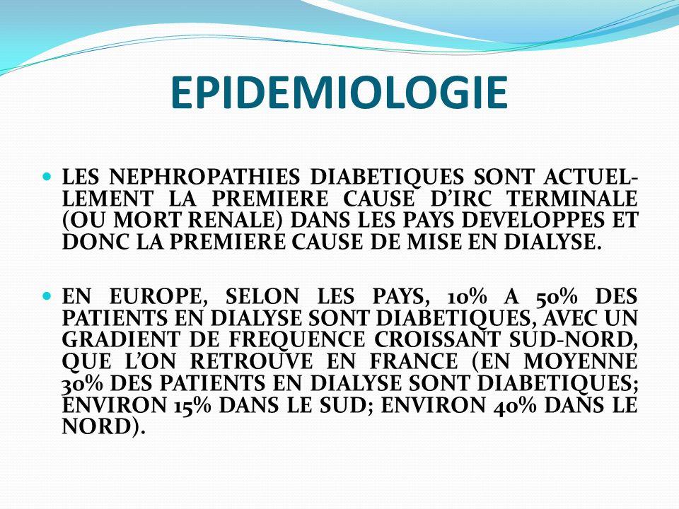EPIDEMIOLOGIE EN FRANCE ENVIRON UN TIERS DES 7.500 NOU- VEAUX PATIENTS ARRIVANT CHAQUE ANNEE EN DIALYSE SONT DIABETIQUES (INCIDENCE = 125 PATIENTS/MILLION DHA), DONT 90% SONT DIABE- TIQUES DE TYPE 2.