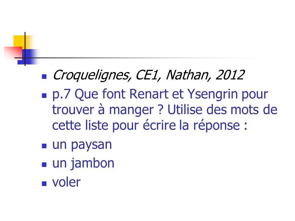 Croquelignes, CE1, Nathan, 2012 p.7 Que font Renart et Ysengrin pour trouver à manger ? Utilise des mots de cette liste pour écrire la réponse : un pa