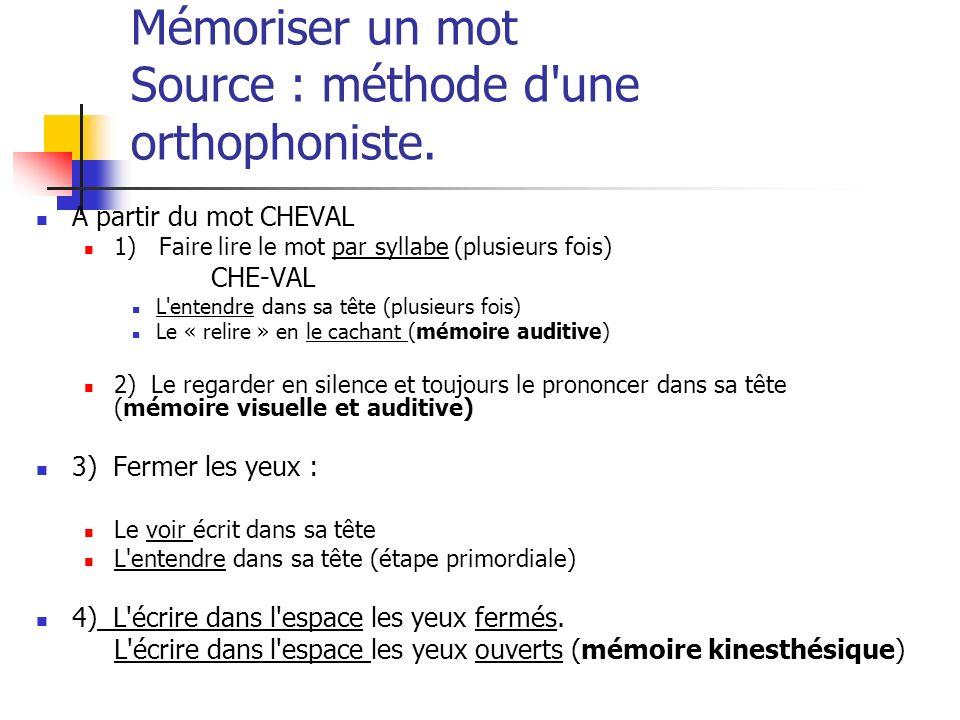 Mémoriser un mot Source : méthode d'une orthophoniste. A partir du mot CHEVAL 1) Faire lire le mot par syllabe (plusieurs fois) CHE-VAL L'entendre dan