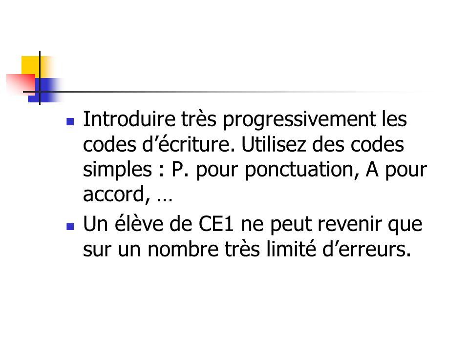 Introduire très progressivement les codes décriture. Utilisez des codes simples : P. pour ponctuation, A pour accord, … Un élève de CE1 ne peut reveni