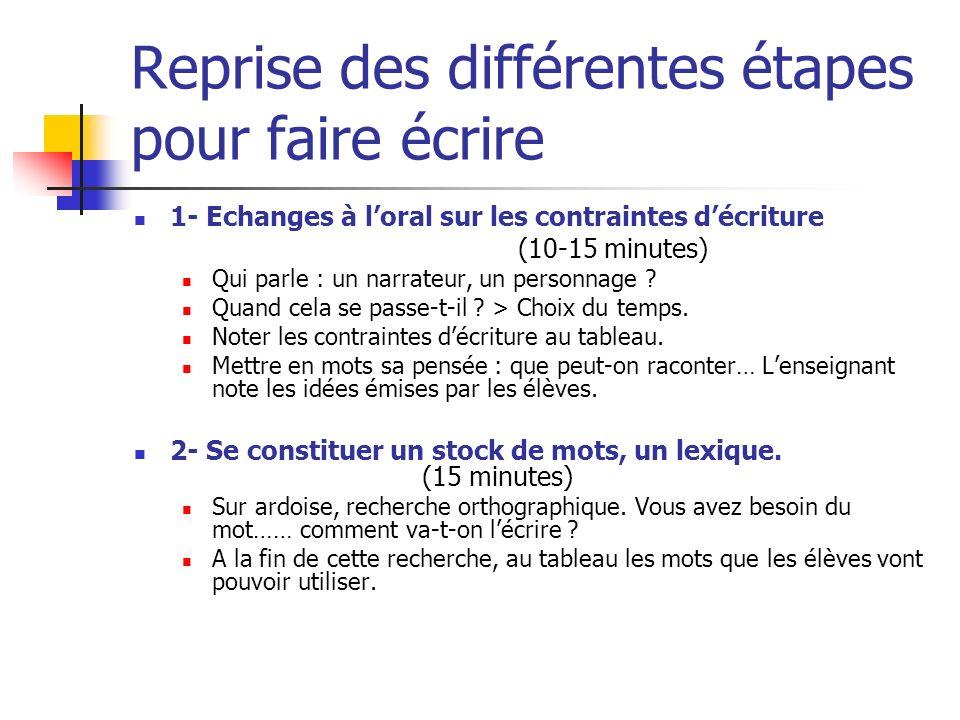 Reprise des différentes étapes pour faire écrire 1- Echanges à loral sur les contraintes décriture (10-15 minutes) Qui parle : un narrateur, un person