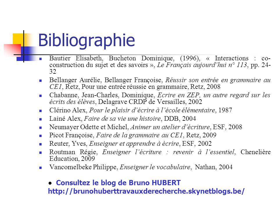 Bibliographie Bautier Elisabeth, Bucheton Dominique, (1996), « Interactions : co- construction du sujet et des savoirs », Le Français aujourdhui n° 11