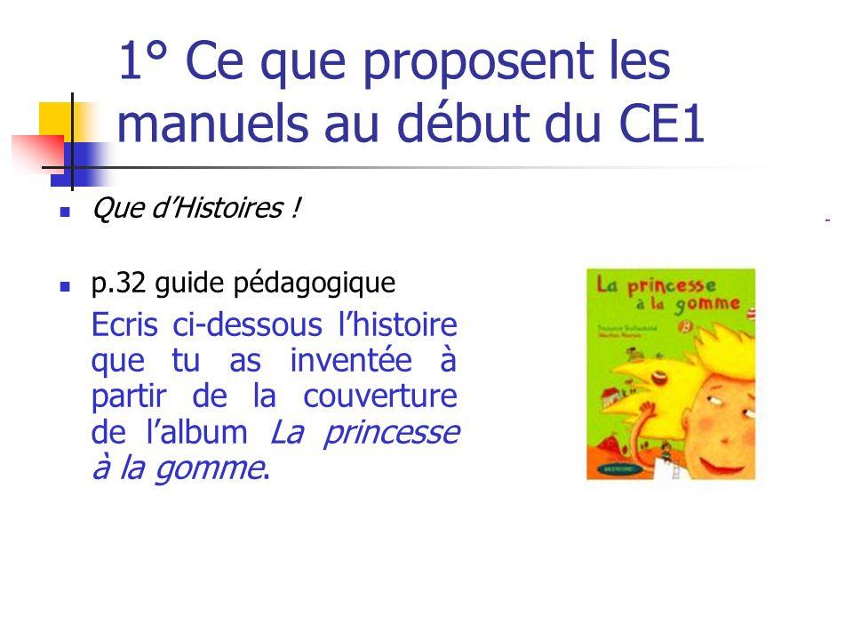 1° Ce que proposent les manuels au début du CE1 Que dHistoires ! p.32 guide pédagogique Ecris ci-dessous lhistoire que tu as inventée à partir de la c