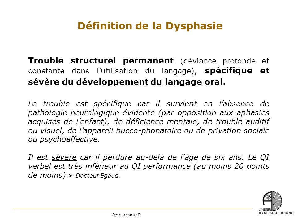 Information AAD Trouble structurel permanent (déviance profonde et constante dans lutilisation du langage), spécifique et sévère du développement du l