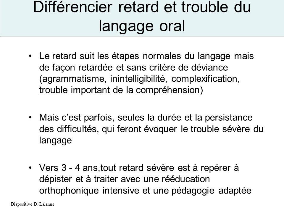 Différencier retard et trouble du langage oral Le retard suit les étapes normales du langage mais de façon retardée et sans critère de déviance (agram