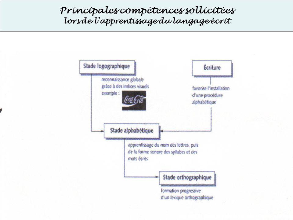 Principales compétences sollicitées lors de lapprentissage du langage écrit Stades dacquisition de la lecture Document élaboré avec le groupe Handisco