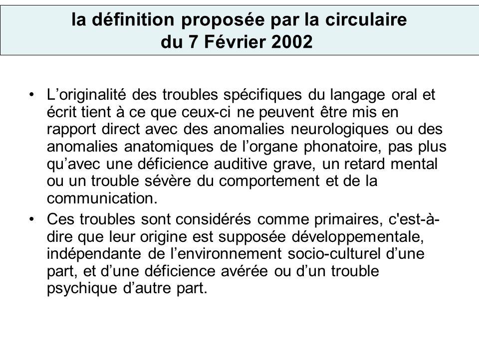 la définition proposée par la circulaire du 7 Février 2002 Loriginalité des troubles spécifiques du langage oral et écrit tient à ce que ceux-ci ne pe