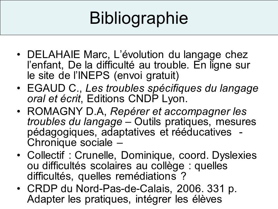 Bibliographie DELAHAIE Marc, Lévolution du langage chez lenfant, De la difficulté au trouble. En ligne sur le site de lINEPS (envoi gratuit) EGAUD C.,